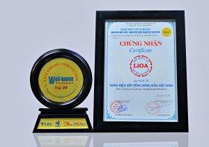LIOA nhận giải thưởng tốp 20 thương hiệu nổi tiếng hàng đầu tại Việt Nam